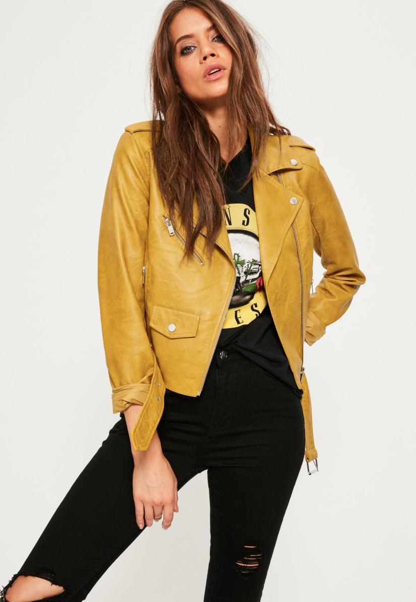 mustard-faux-leather-biker-jacket